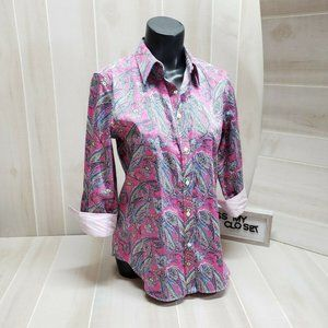 Chaps Pink Paisley No Iron Button Down Shirt Med